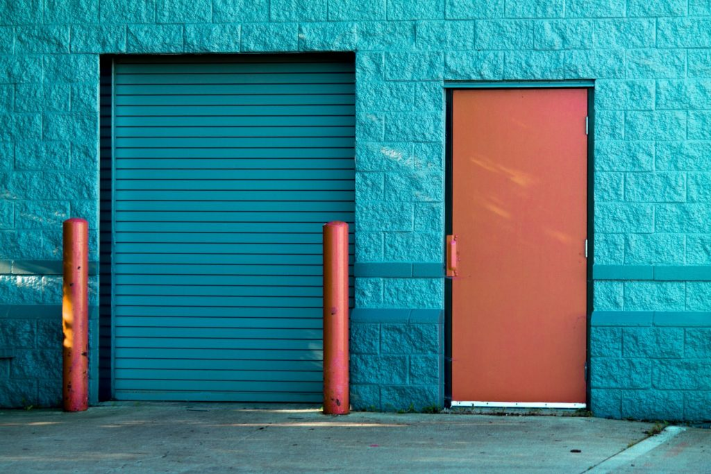 picture of a blue coloured roller shutter in Midland